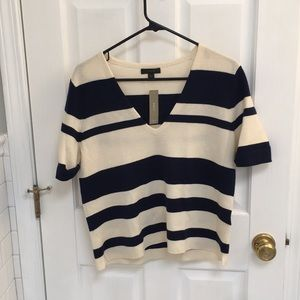 J Crew new with tags ivory and navy sweater